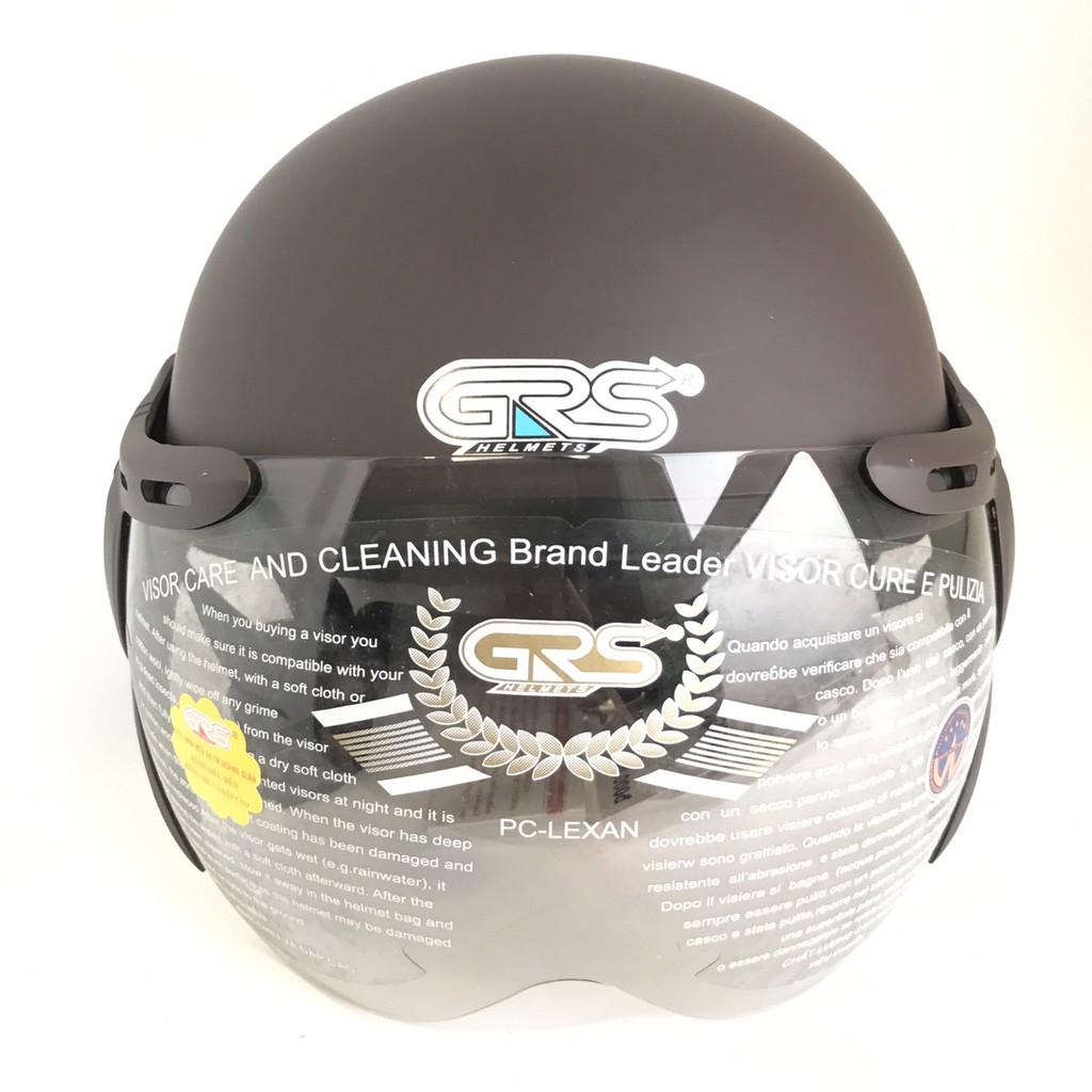 Mũ bảo hiểm nửa đầu có kính - Dành cho người lớn vòng đầu 56-58cm - GRS A33K - Nâu Nhám - Nón bảo hiểm Nam - Bảo hiểm Nữ