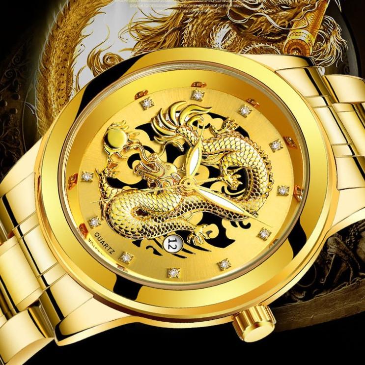 Đồng hồ nam rồng BOSCK chính hãng, in 3D cực kỳ sang trọng, kiểu dáng giả cơ độc đáo, kim dạ quang ( Mã: ARSX )