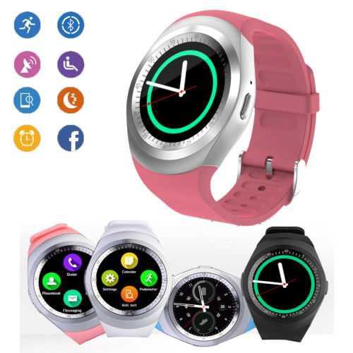 Đồng hồ thông minh mặt tròn thời trang Y1 hồng