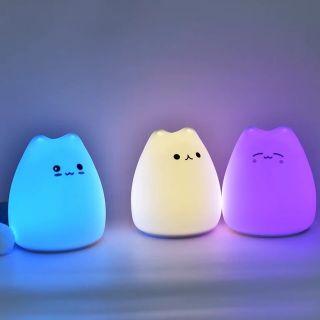 Đèn Ngủ Silicon Hình Mèo Cảm biến Đáng yêu [SẴN SG]