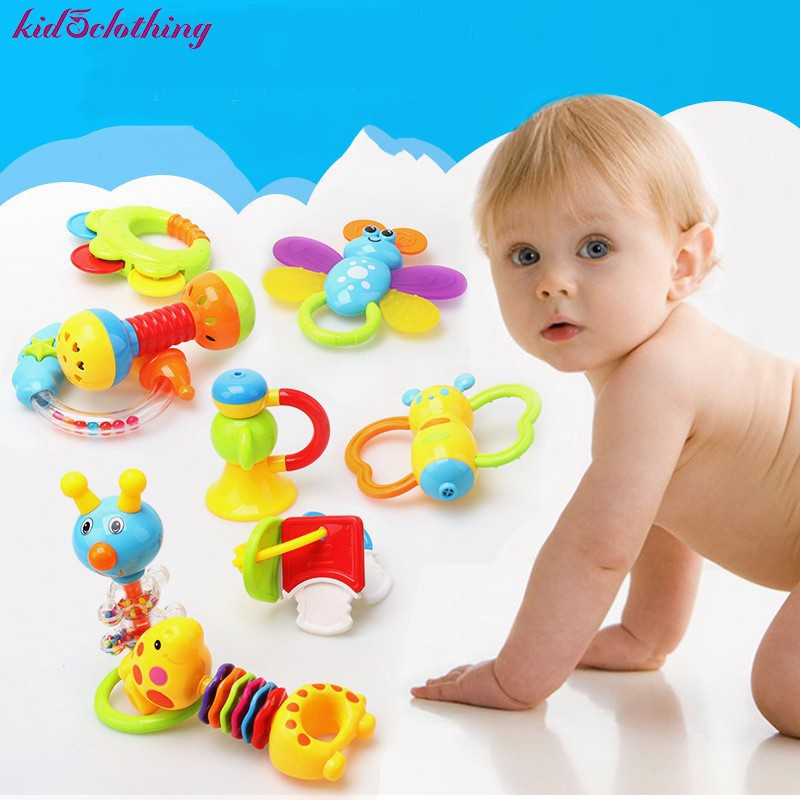 9Pcs Infant Baby Gift Toy Set Rattle Teether Toy Grasp Toys Milk Bottle