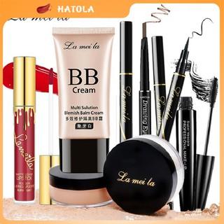 Bộ trang điểm LaMeiLa Kem BB che khuyết điểm + Phấn phủ bột + Chì kẻ mày + Bút kẻ mắt dạ + Mascara + Son kem HT-TL10 thumbnail