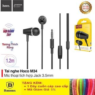 Tai Nghe Iphone Hoco M34 Super Bass - Tai Nghe Nhét Tai Âm Thanh Cực Hay - Bảo Hành 12 Chính Hãng Tháng