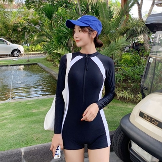 Korean long-sleeved diving suit one-piece boxer long-sleeved sunscreen conservative leisure surfing slimming student swimsuit