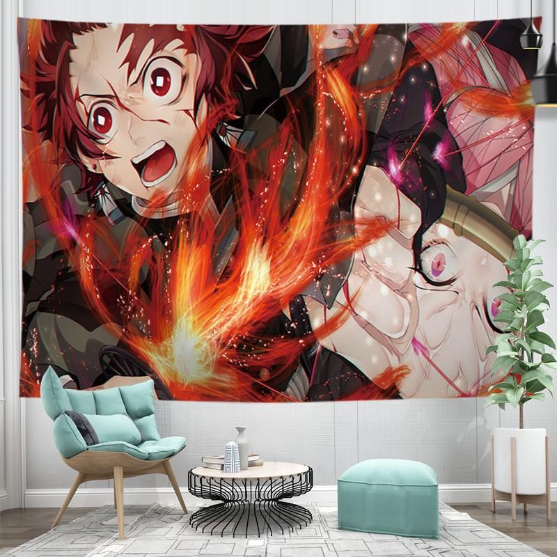 Vải Treo Tường  Anime Kimetsu No Yaiba Decor Phòng Chọn Lọc Những Bản Đẹp ( Tặng đèn led 7m và phụ kiện )