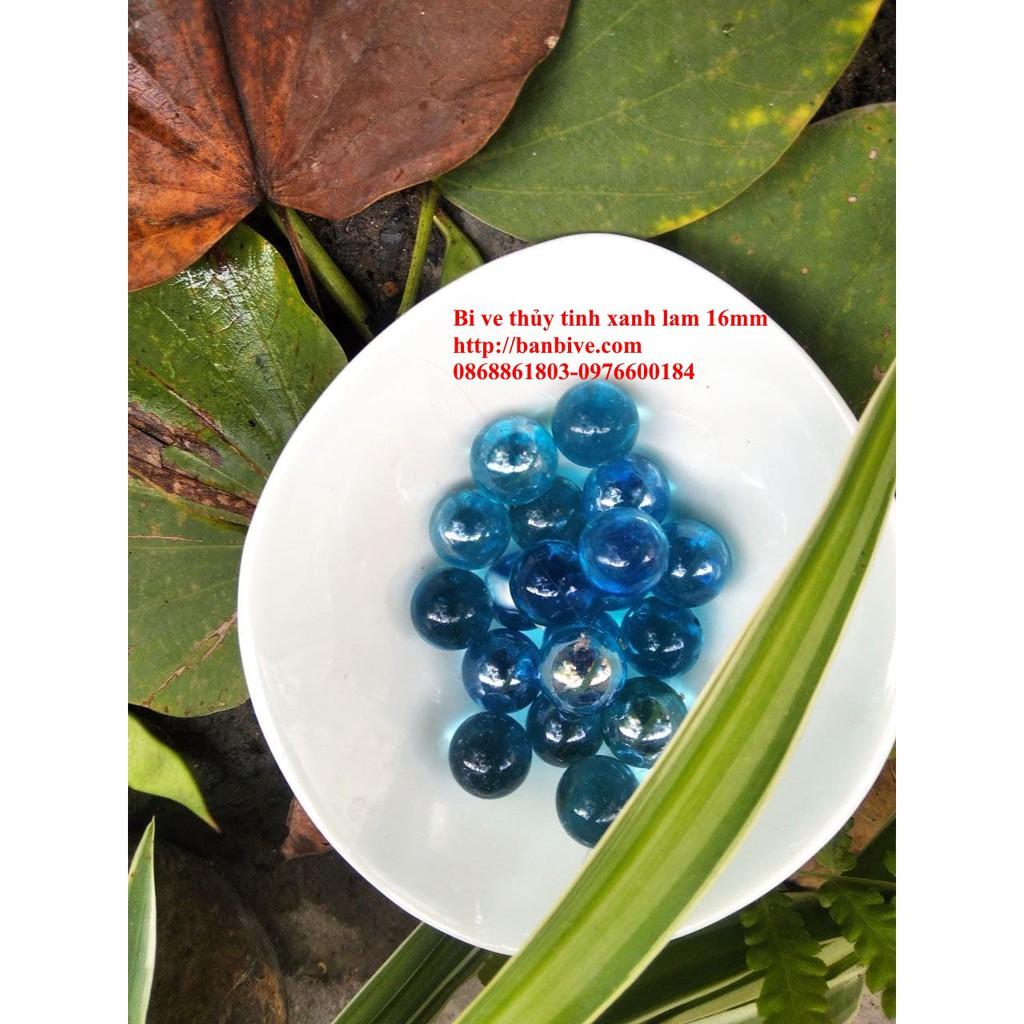 Bi ve – bộ viên bi thủy tinh xanh lam đường kính 1.6 cm bộ 10 viên