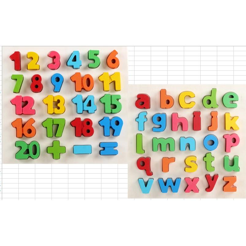 Combo 2 bộ số, chữ cái ( đồ chơi gỗ cho bé ), đồ chơi gỗ thông minh