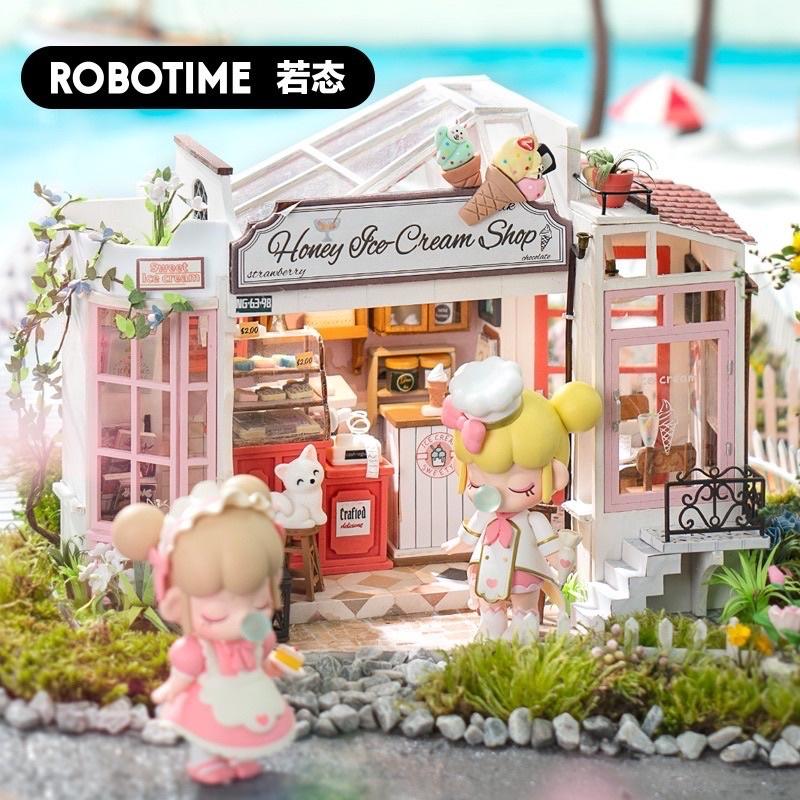Mô hình nhà gỗ diy tự lắp ghép Robotime Cửa hàng kem mật ong(có mika, keo, đèn led)