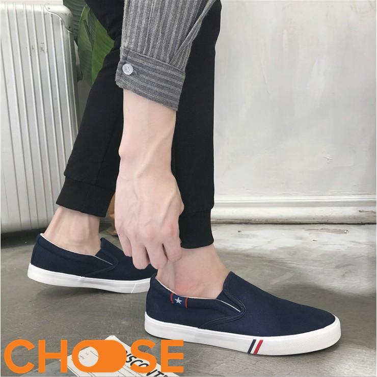 Giày Nam Mẫu Mới Phong Cách Choose Không Buộc Dây Vải Nam Hàn Quốc
