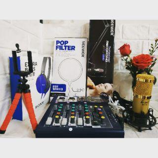 Trọn bộ Mixer F4 usb và mic AMI BM900 có autotune và bluetooth