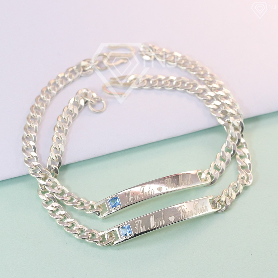 Vòng tay đôi bạc, vòng tay cặp bạc đính đá Topaz khắc tên LTD0004