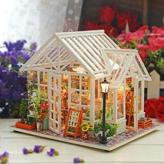 Kèm mica – Mô hình nhà gỗ búp bê dollhouse DIY – M009A Sosa's Flower