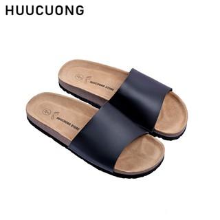 Dép 1 quai Huucuong màu đen Unisex đế trấu