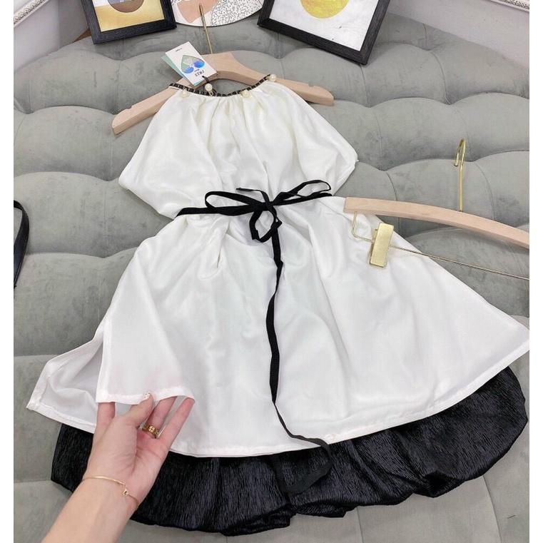 set áo lụa trắng 2 dây cổ yếm đính ngọc thắt nơ eo + quần đen xếp phồng (ảnh thật)