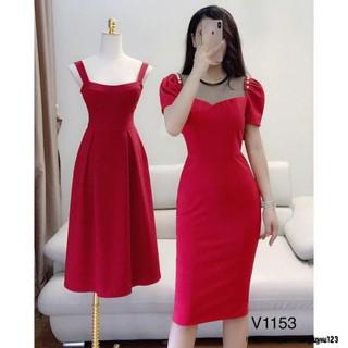Váy đầm ôm tôn dáng màu đỏ V1153 Mie Design kèm ảnh thật