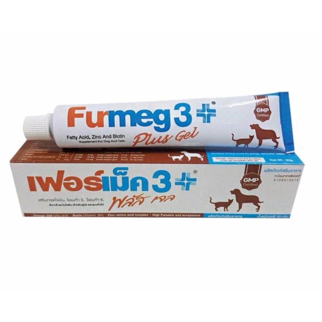 Furmeg 3 Plus Gel (30gx1).-เฟอร์เม็ค 3 พลัส เจลบำรุงขน ผิวหนัง ช่วยให้เจริญอาหาร สำหรับสุนัขและแมว 30 กรัม จัตว์เลี้ยง F