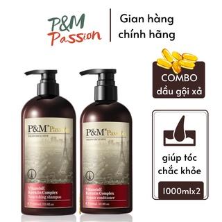 Combo dầu gội xả P&M Passion PHÁP NHẬP KHẨU CHÍNH HÃNG Phục hồi ngăn rụng tóc 1000ml thumbnail
