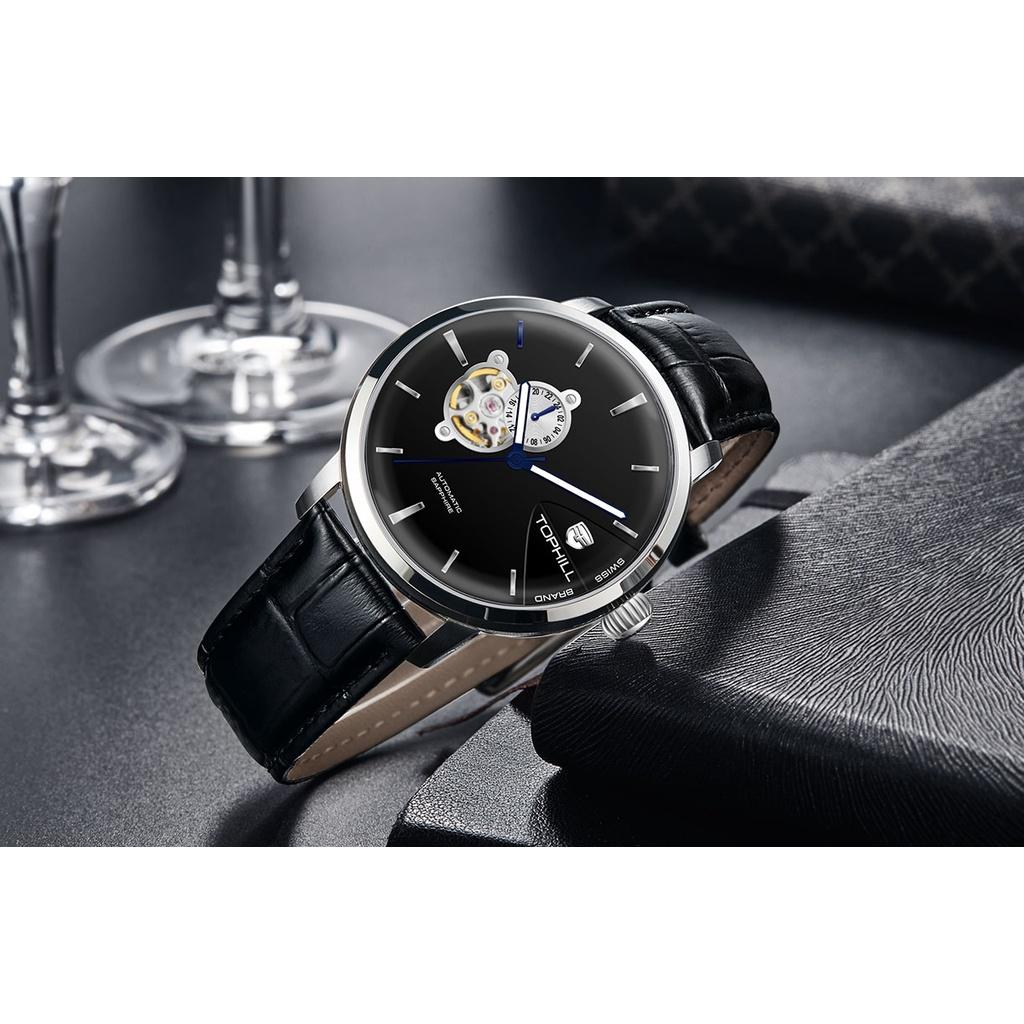 Đồng hồ nam chính hãng TOPHILL TW083G.PB1158 - Dây da - kính Saphire