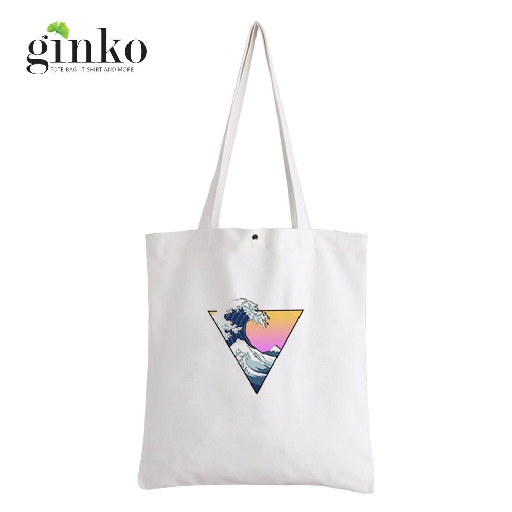 Túi Vải Tote Ginko Kiểu Basic Nút Bấm In Hình Great Wave In Triangl