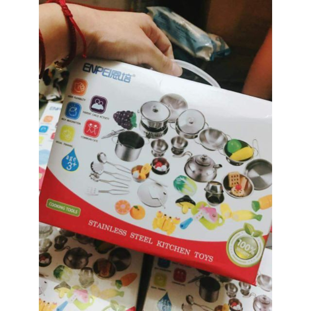 Bộ đồ chơi nhà bếp inox 40 chi tiết