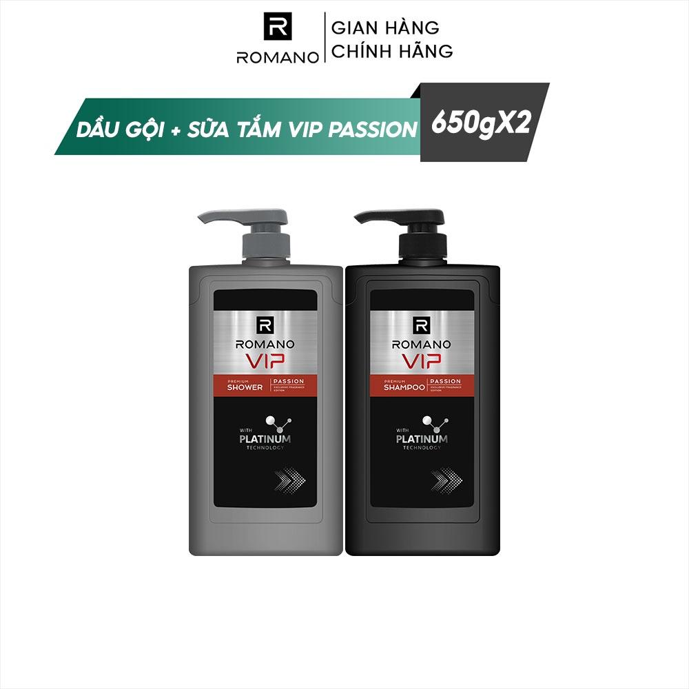 Combo Dầu gội và Sữa tắm cao cấp Romano Vip 650g/chai Passion