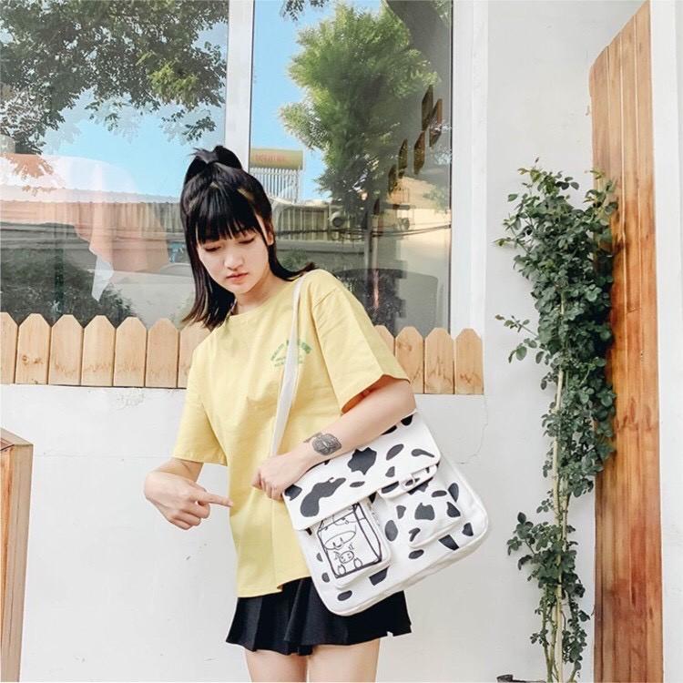 [20 mẫu vừa sách vở] Túi tote canvas đeo chéo giá rẻ trơn vải mềm đi học vừa khổ A4 Thoitranghazin