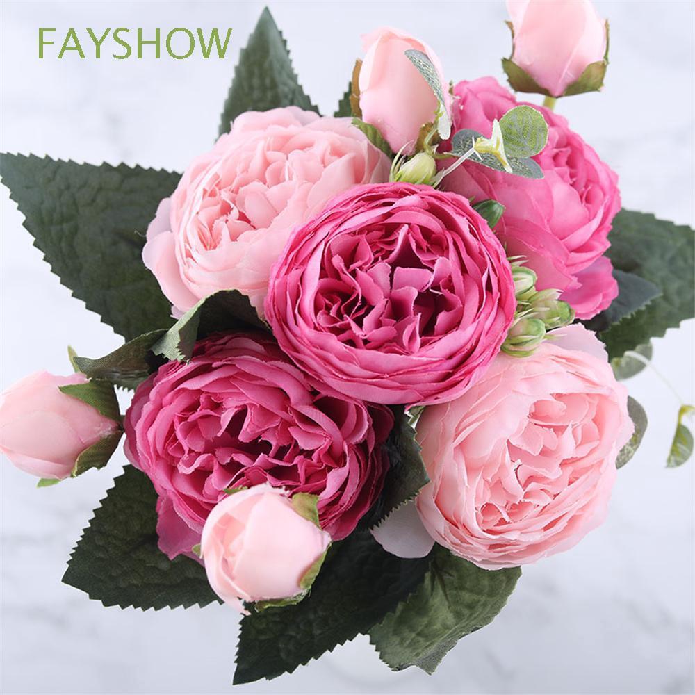 Bông hoa 9 đầu trang trí phong cách vintage 30cm thumbnail