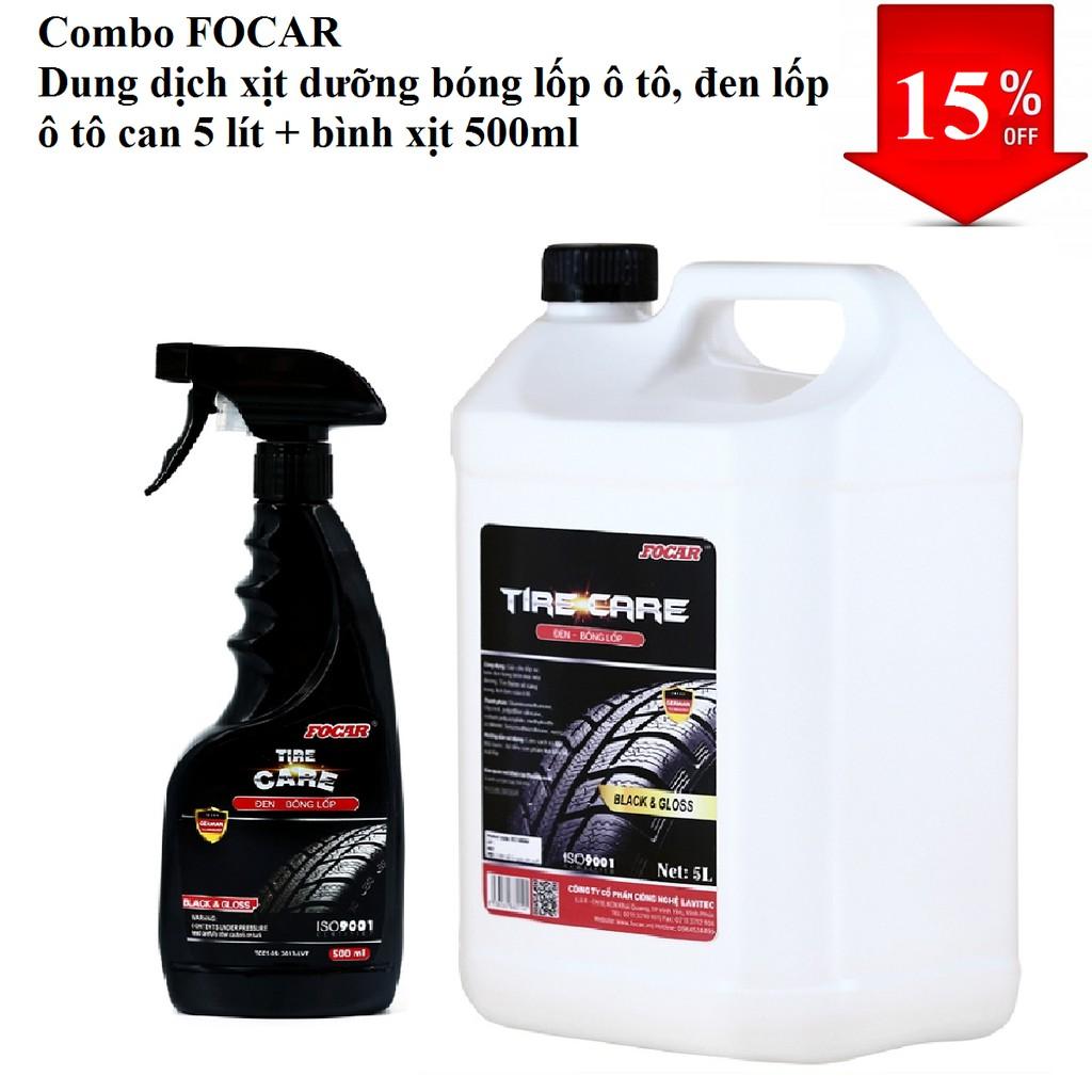Bộ 2 sản phẩm Dung dịch xịt dưỡng bóng lốp ô tô, đen lốp ô tô can 5 lít + bình xịt 500ml (Tiết kiệm