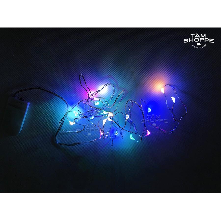 Dây đèn Led sợi đồng nhiều màu dùng Pin tròn 2m TAN