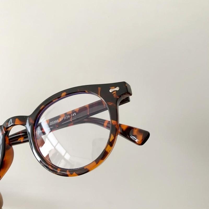 Gọng kính nhựa đàn hồi dáng tròn form nhỏ màu da beo cho nam nữ - 3388