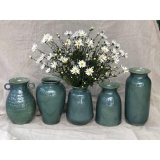 Lọ hoa men hỏa biến dáng đùi dế xanh tím