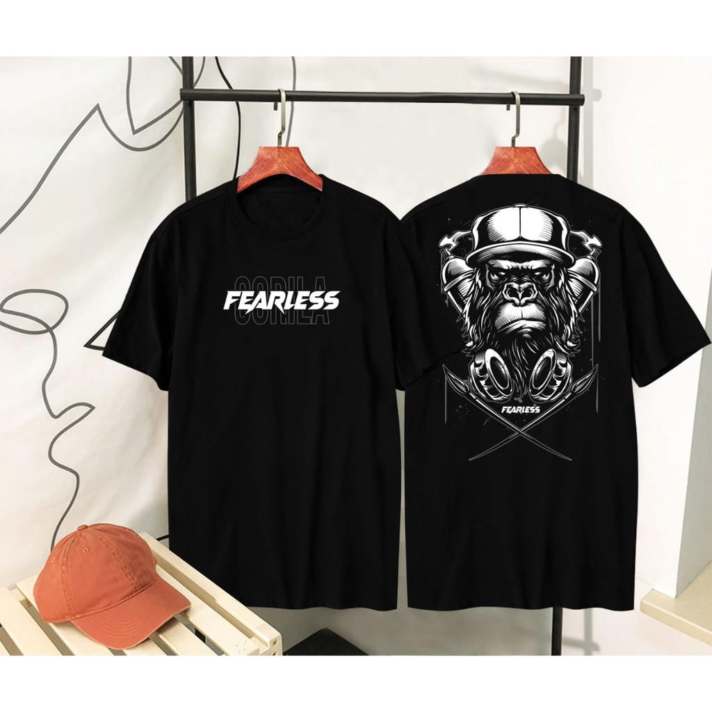 Áo thun màu đen in chữ distro gorila fearless
