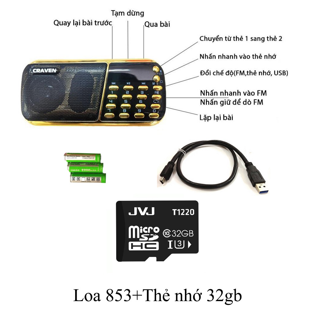 Loa thẻ nhớ Craven CR 853-3 pin, 2 khe cắm thẻ nhớ - USB - ĐÀI FM -  phát kinh phật, đài FM