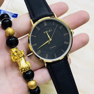 Đồng hồ Nam halei dây da đen cao cấp, kính chống xước 40mm chống nước tuyệt đối HL540