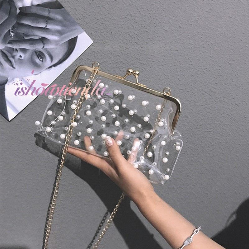 ishow Ready stock Ins new Korean version of the wild Messenger shoulder bag pearl bag transparent bag