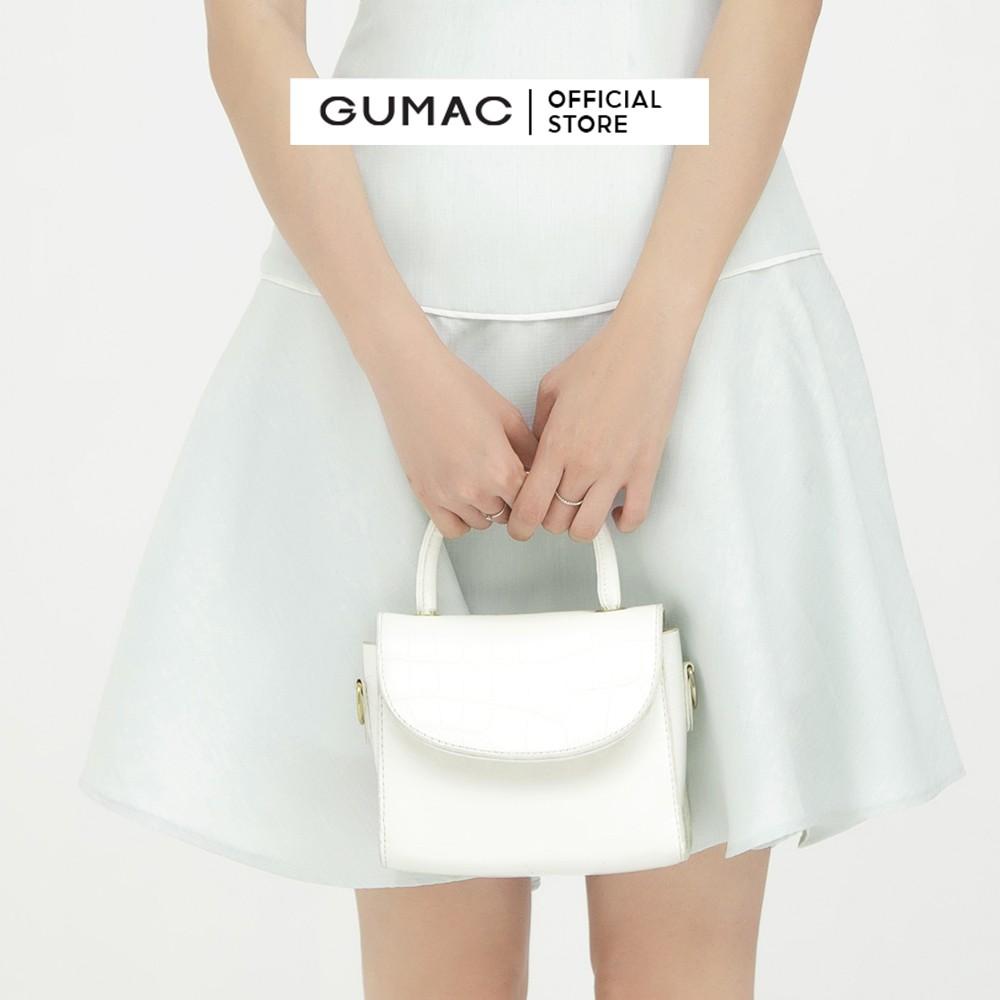 Mặc gì đẹp: Đúng gu với [Mã WABRGUM1 giảm 10% đơn 250K] Đầm công sở nữ dáng xòe cột nơ GUMAC tay ngắn màu xanh nữ tính DB568