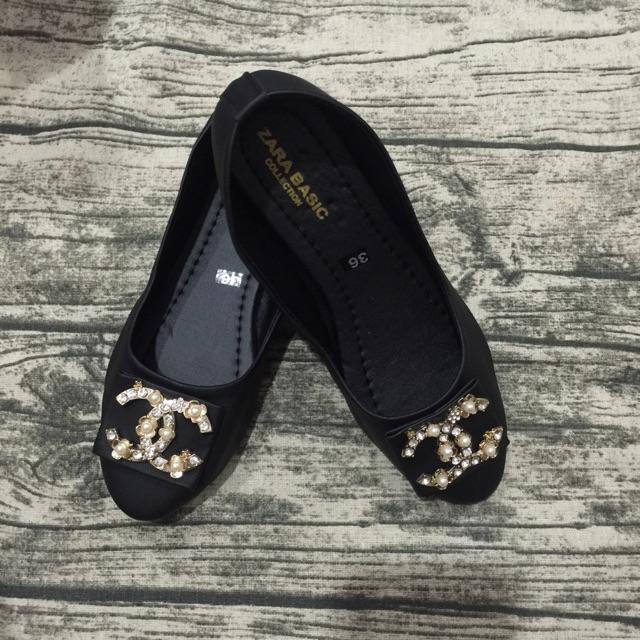 Giày búp bê cao cấp đen đính đá