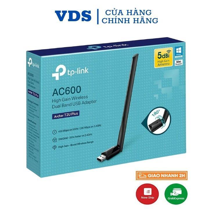 Usb wifi TP-Link chuẩn AC600 Mbps USB adapter băng tần kép,usb thu wifi Archer T2U Plus,vds shop