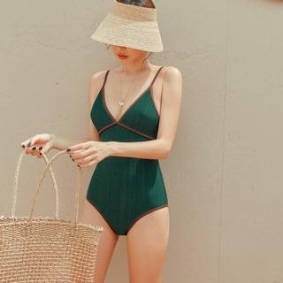 Bộ bơi 1 mảnh nữ , bikini liền hai dây xanh viền thumbnail
