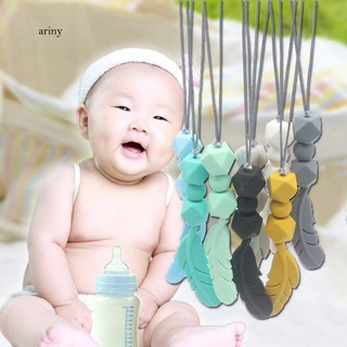 ♞Baby Silicone Teether Feather Pendant Beads Teething Necklace Chain Chewing Toy