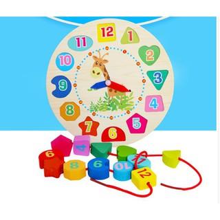 Đồ chơi gỗ Đồng hồ báo thức gỗ đồ chơi cho bé học số màu sắc và thời gian