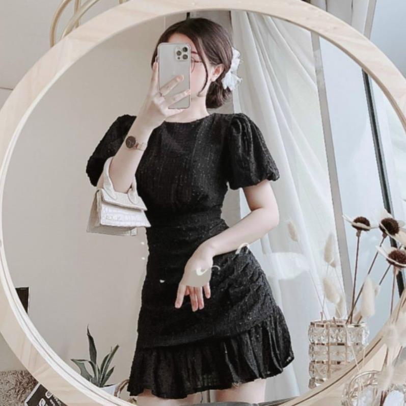 Mặc gì đẹp: Sang chảnh với Đầm dự tiệc ren trắng đen nhún đuôi cá Lisa Dress Hàng Thiết Kế