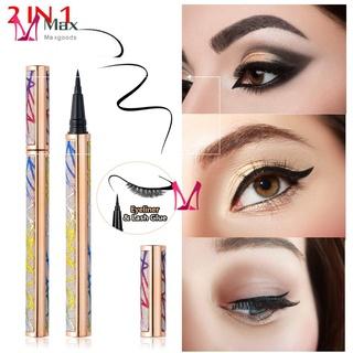 💋MAX Eye Makeup Tool Magic Lash Glue Eyeliner Pen Fast Dry 2 in 1 Eye Liner Self-adhesive Eyeliner No Glue Magnetic Needed Women's Fashion Waterproof Easy to use Long-lasting Colorful Adhsive Liner