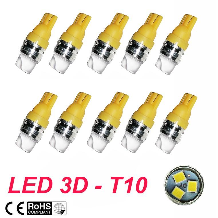 BỘ 10 LED XI NHAN 3D CHÂN T10- LÀM DEMI