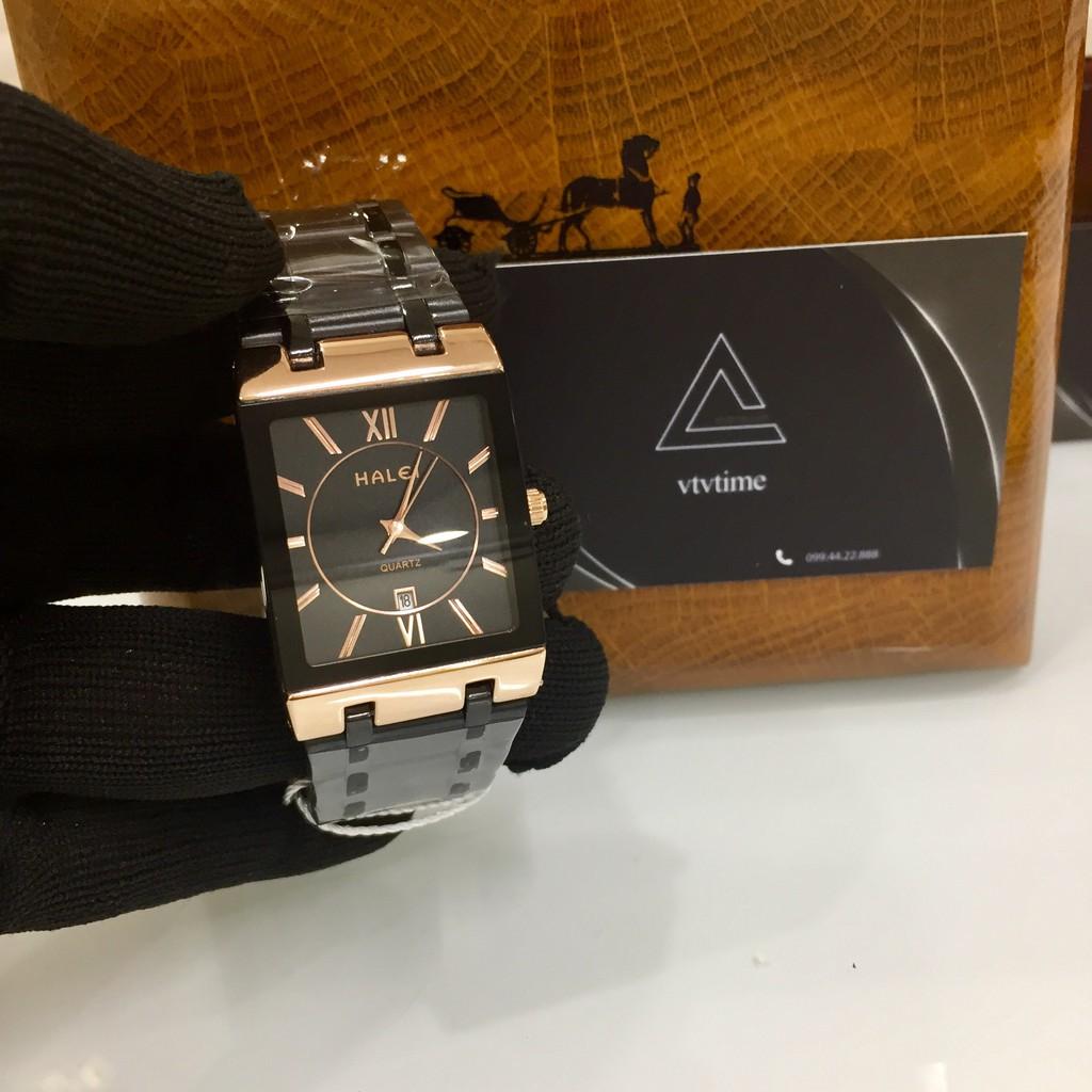 Đồng hồ nam Halei mặt vuông đen viền vàng chính hãng chống nước Đồng hồ nam Halei mặt vuông đen viền vàng chính hãng chống nước