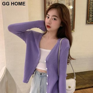 Purple thin V-neck cardigan sweater coat women s summer new loose long-sleeved top sun protection shirt