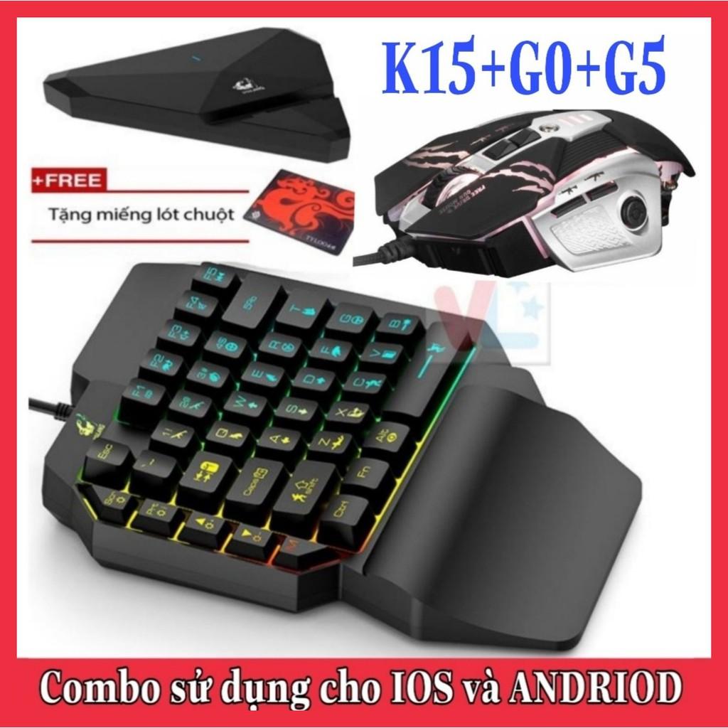Combo Trọn Bộ Bàn Phím K15 + Chuột G0 + Hộp Chuyển Đổi G1 chơi game PUBG Mobile cho Android, IOS, iPad như PC - VL