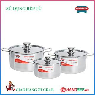 Bộ nồi inox 1 đáy Sunhouse SH114 ( sử dụng được với bếp từ)
