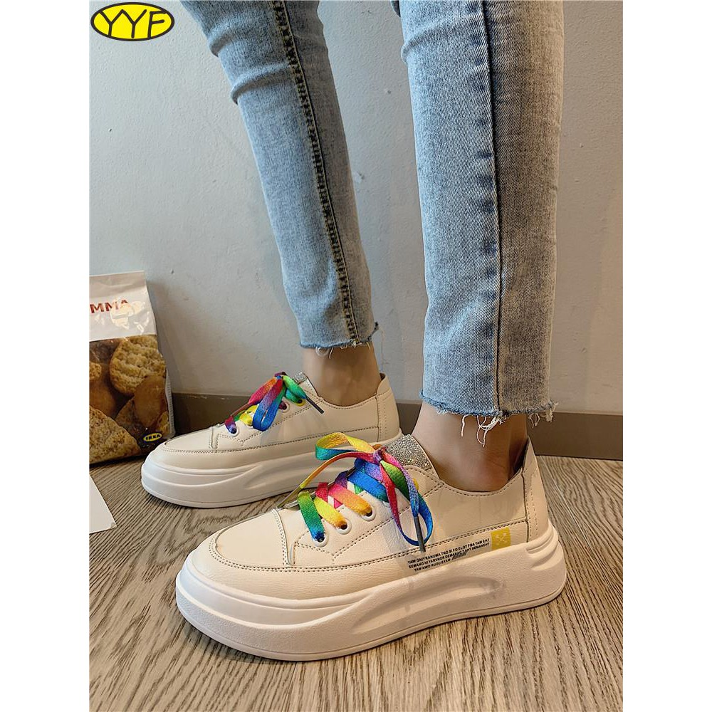 รองเท้าผู้หญิงที่มีคุณภาพสูง, รองเท้าสีขาวขนาดเล็ก, ผู้หญิงของป่า, เค้กหลวม, ด้านล่างหนา, กีฬาสบาย ๆ , รองเท้าสูง, น้ำขอ