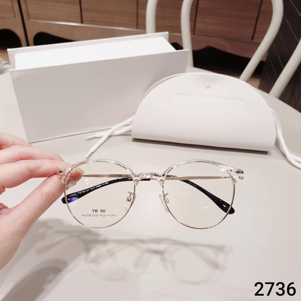 Gọng kính cận kim loại dáng tròn Nam nữ V2763 - Kính thời trang hàn quốc 0 độ + Nhận...